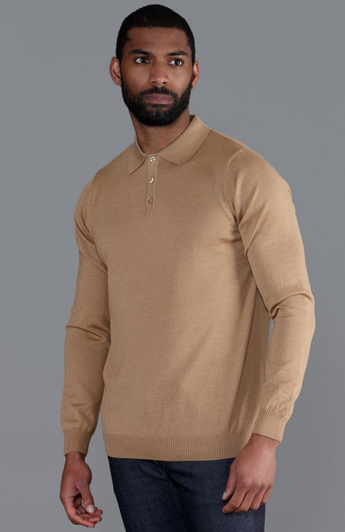 mens camel fine Italian merino wool long sleeve polo shirt jumper