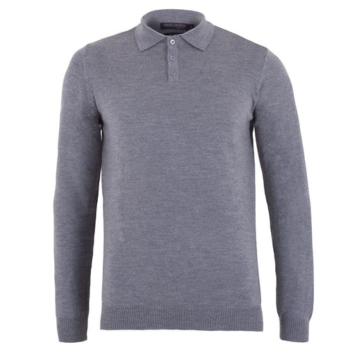 mens grey merino long sleeve polo shirt sweater