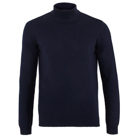 Mens 100% Ultra Fine Cotton Mock Turtle Neck Jumper