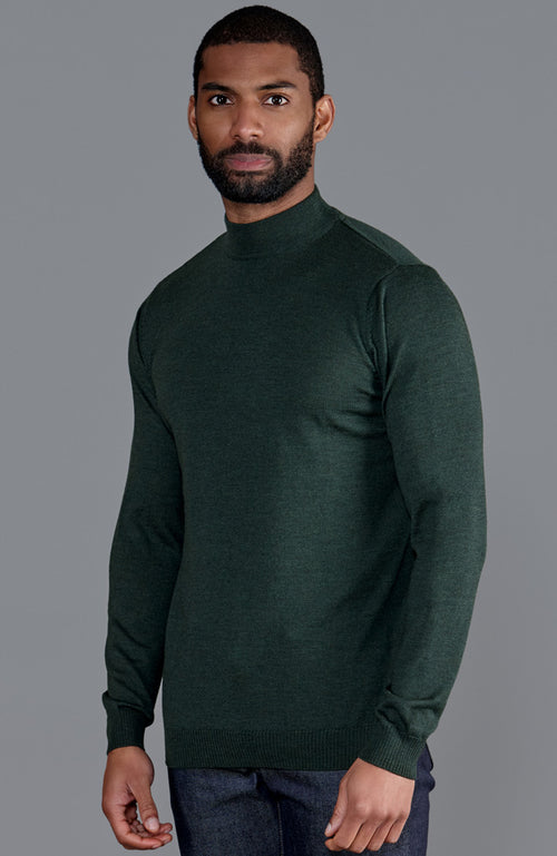 mens olive green high mock turtle neck fine merino wool jumper