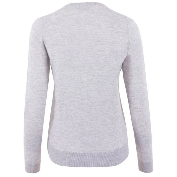 womens grey lightweight fine merino cardigan back