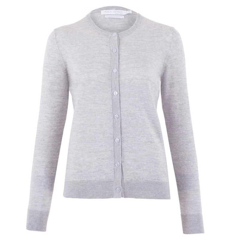 womens grey lightweight fine merino cardigan
