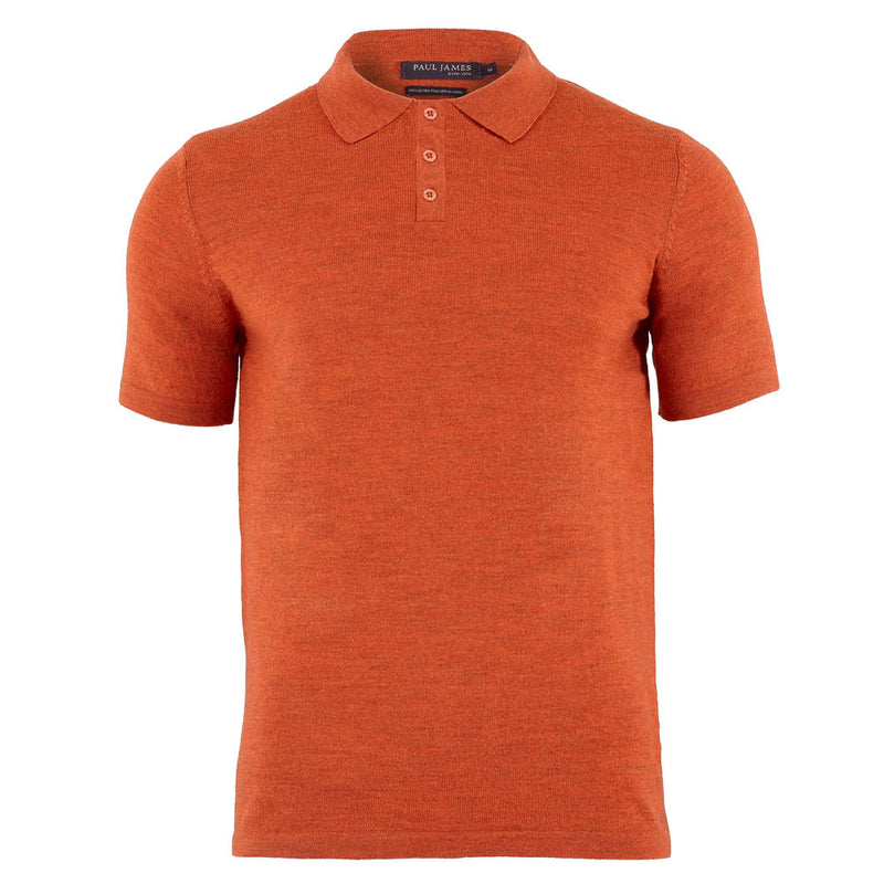 burnt orange mens extra fine merino wool polo shirt