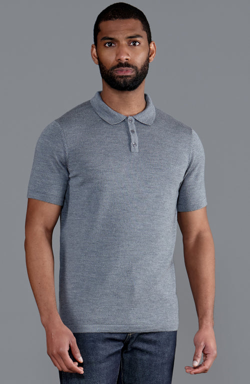 mens grey fine merino wool short sleeve polo shirt