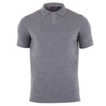 mens grey merino polo shirt front