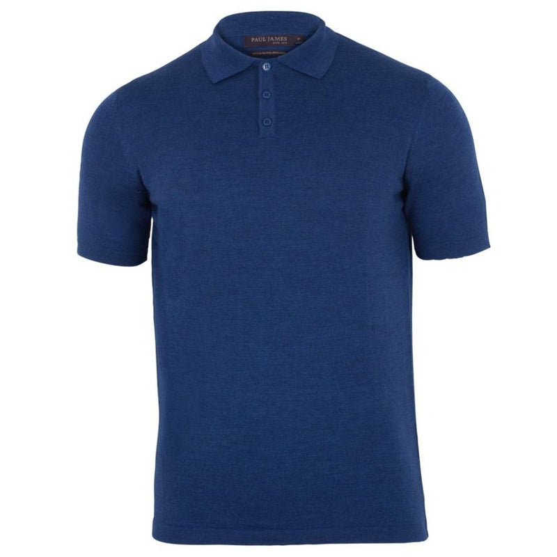 indigo blue mens short sleeve merino wool polo shirt