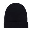 black fisherman fine merino beanie hat