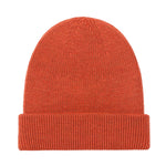 orange fisherman fine merino beanie hat