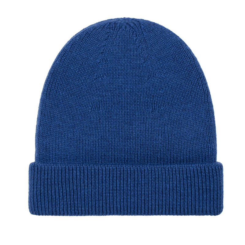 bright blue fisherman fine merino beanie hat