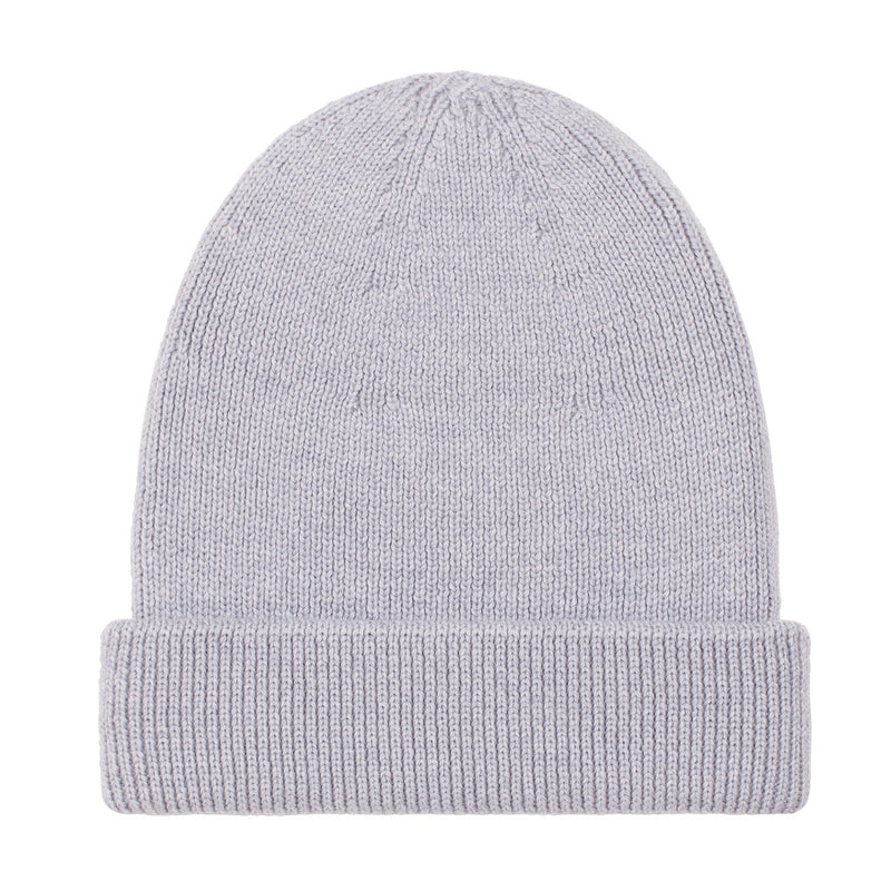 light grey fisherman fine merino beanie hat