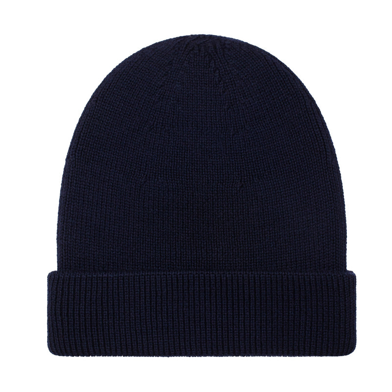 navy fisherman fine merino beanie hat