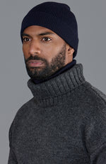 navy warm winter merino wool beanie hat