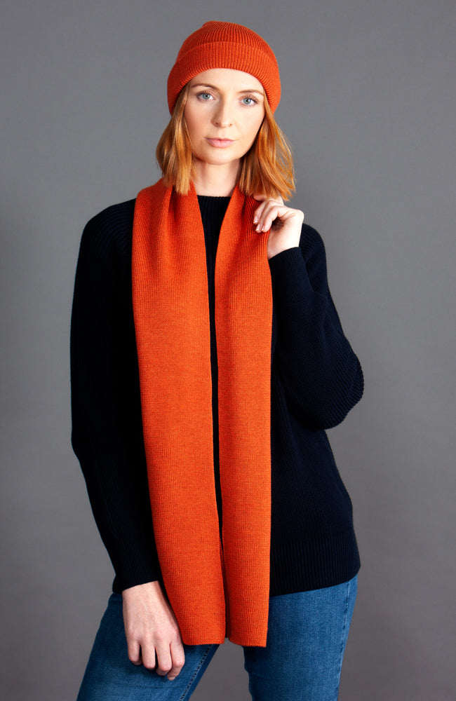 orange heavy thick and warm winter merino wool scarf
