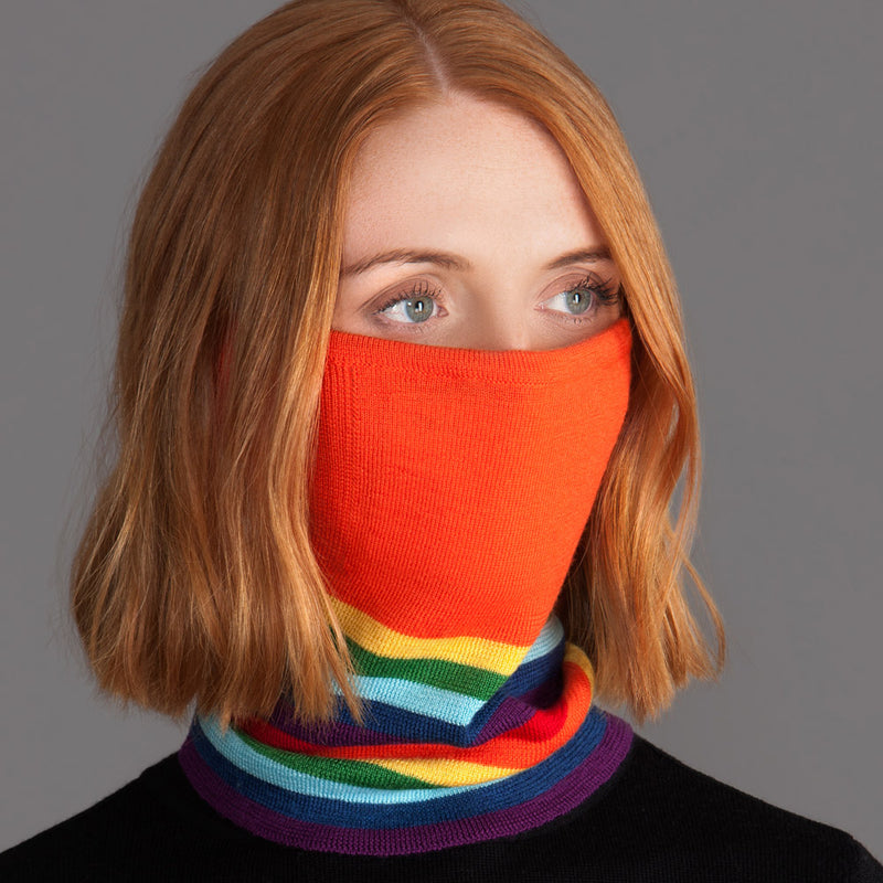 orange rainbow merino wool snood