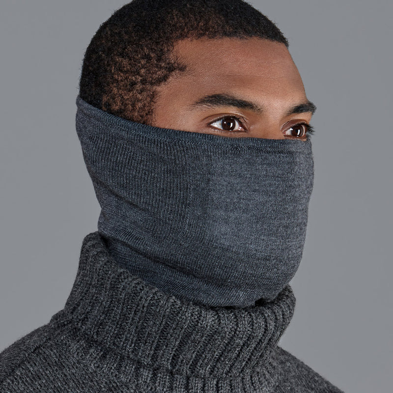 charcoal grey fine merino wood snood for walking and running