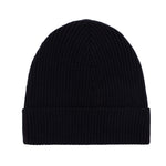 black lightweight ribbed merino wool beanie hat