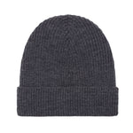 charcoal lightweight ribbed merino wool beanie hat