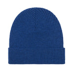 indigo lightweight ribbed merino wool beanie hat