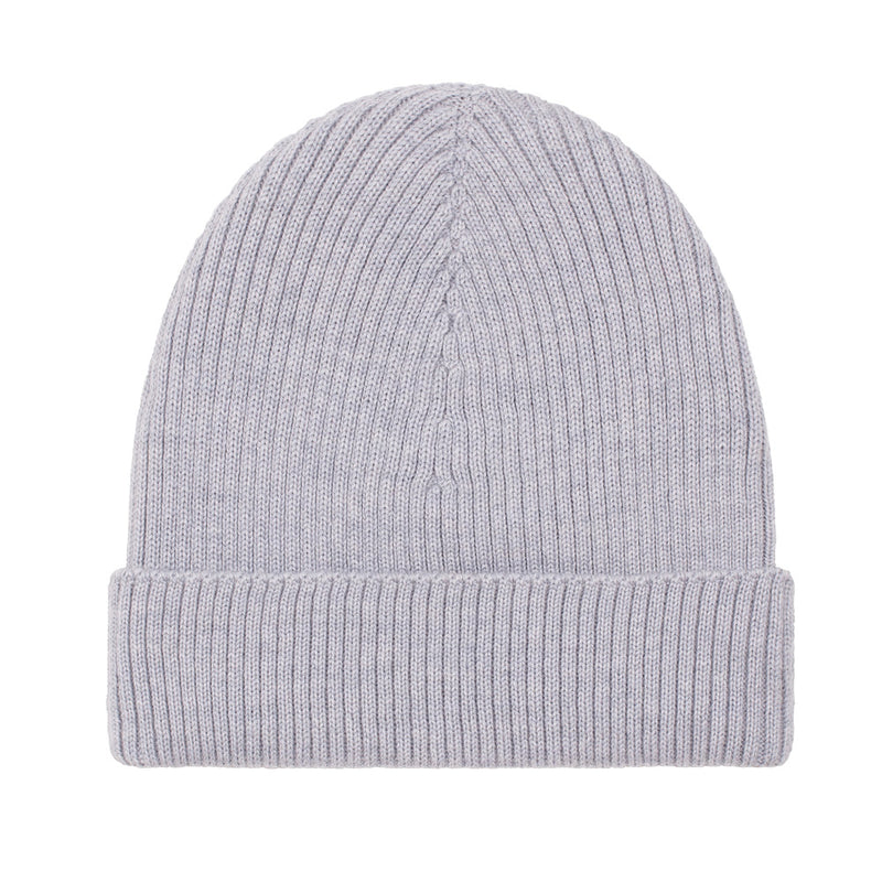 light grey lightweight ribbed merino wool beanie hat