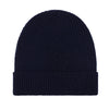 navy lightweight ribbed merino wool beanie hat