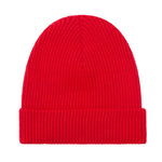 red lightweight ribbed merino wool beanie hat