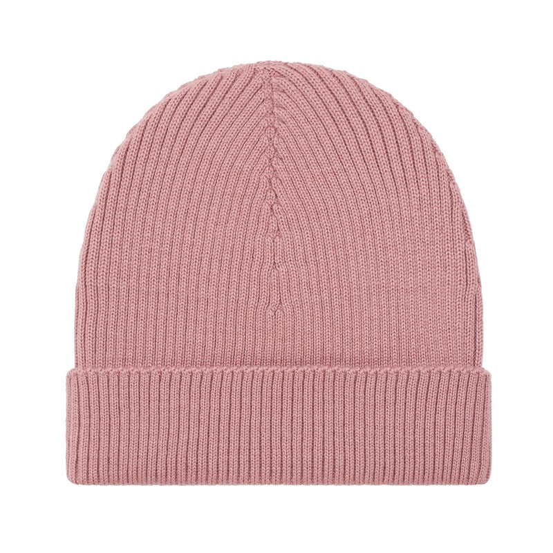 pink lightweight ribbed merino wool beanie hat