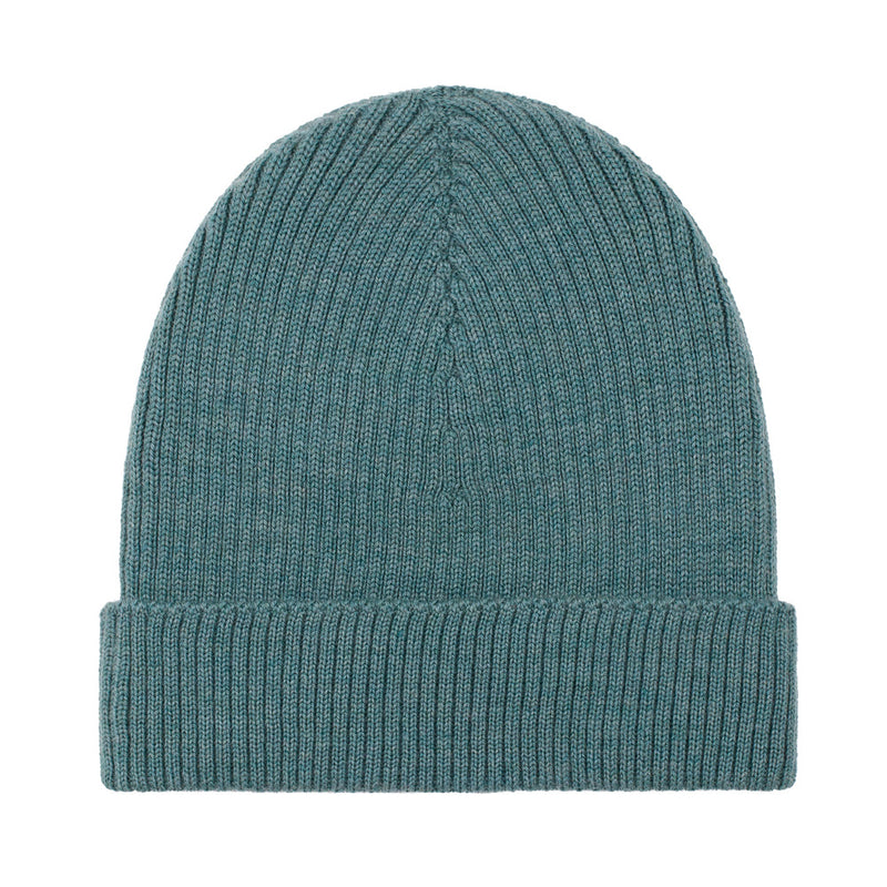green lightweight ribbed merino wool beanie hat