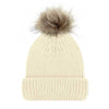 Cream Luxury Ladies Merino Beanie and Natural Pompom