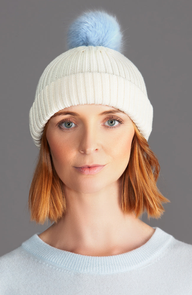 cream merino wool winter warm beanie hat with faux fur pom