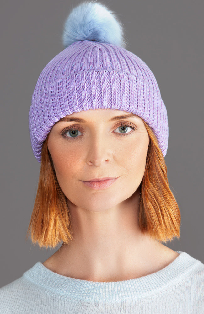 lilac merino wool winter warm beanie hat with faux fur pom
