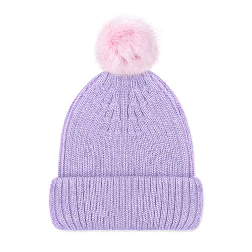 Lilac Luxury Ladies Merino Beanie and Pink Pompom