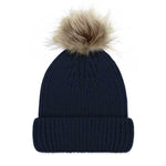 Navy Luxury Ladies Merino Beanie and Natural Pompom