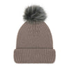 Taupe Luxury Ladies Merino Beanie and Grey Pompom