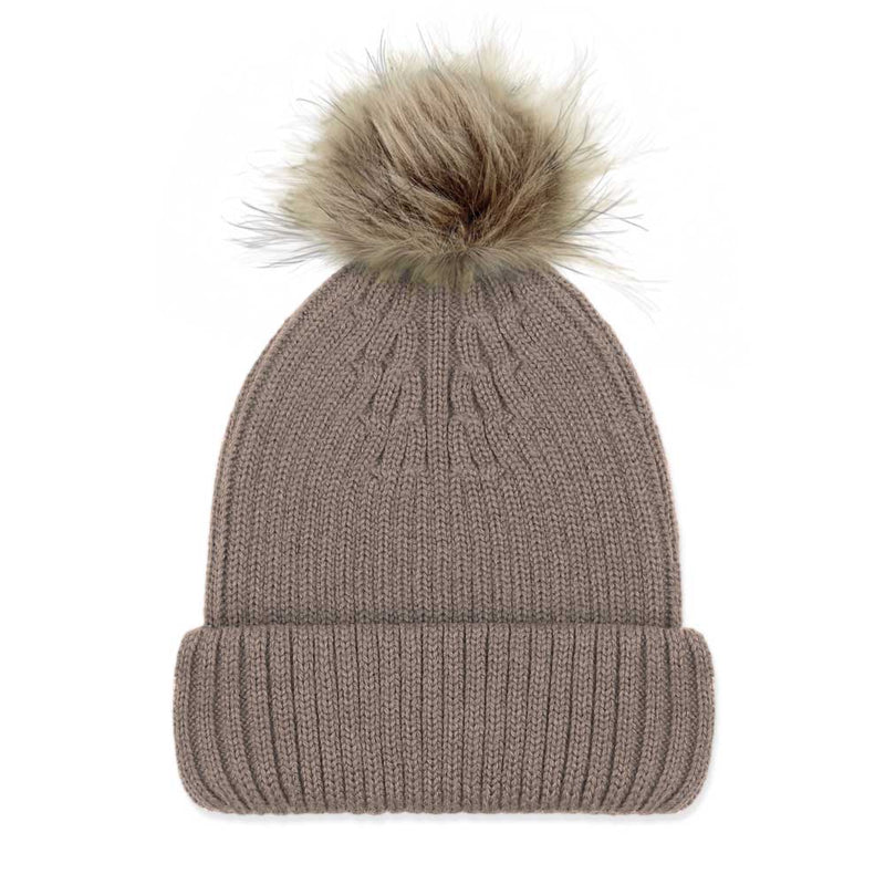 Taupe Luxury Ladies Merino Beanie and Natural Pompom