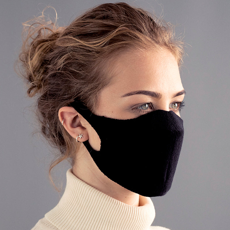 black cotton breathable washable face mask made in england
