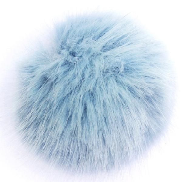 Small Baby Blue Faux Fur Detachable Pompom with Popper