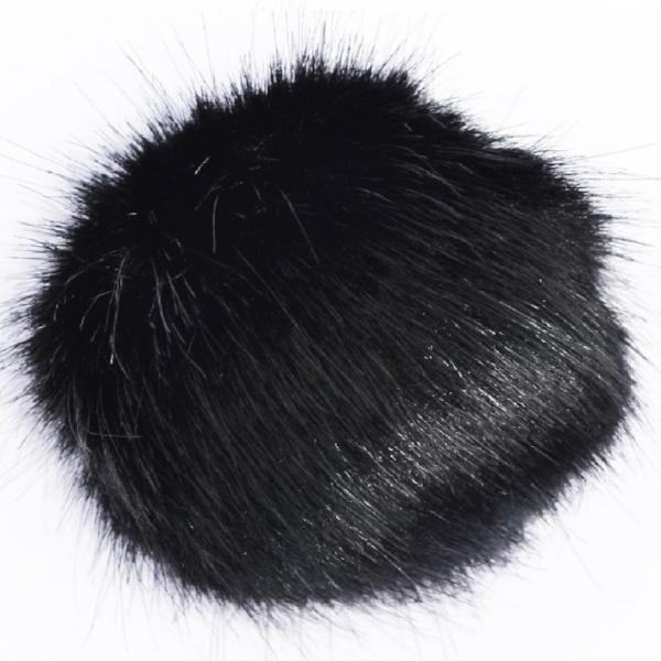 Small Black Faux Fur Detachable Pompom with Popper