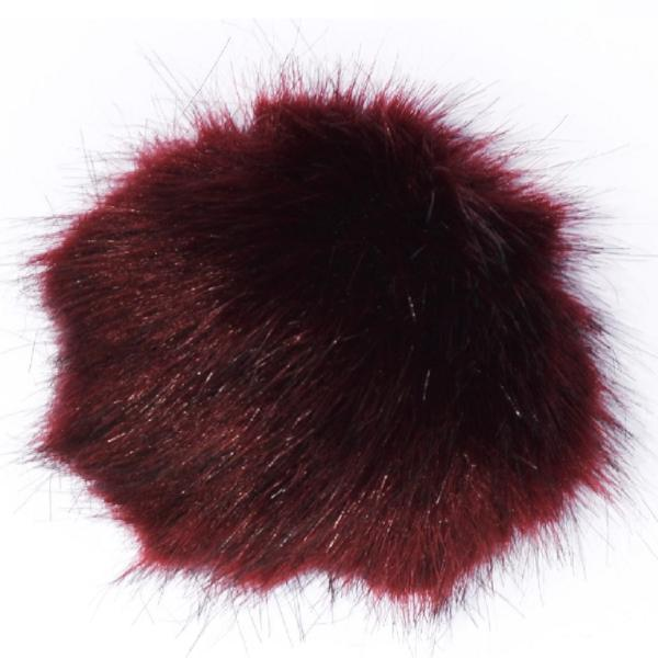 Small Maroon Faux Fur Detachable Pompom with Popper