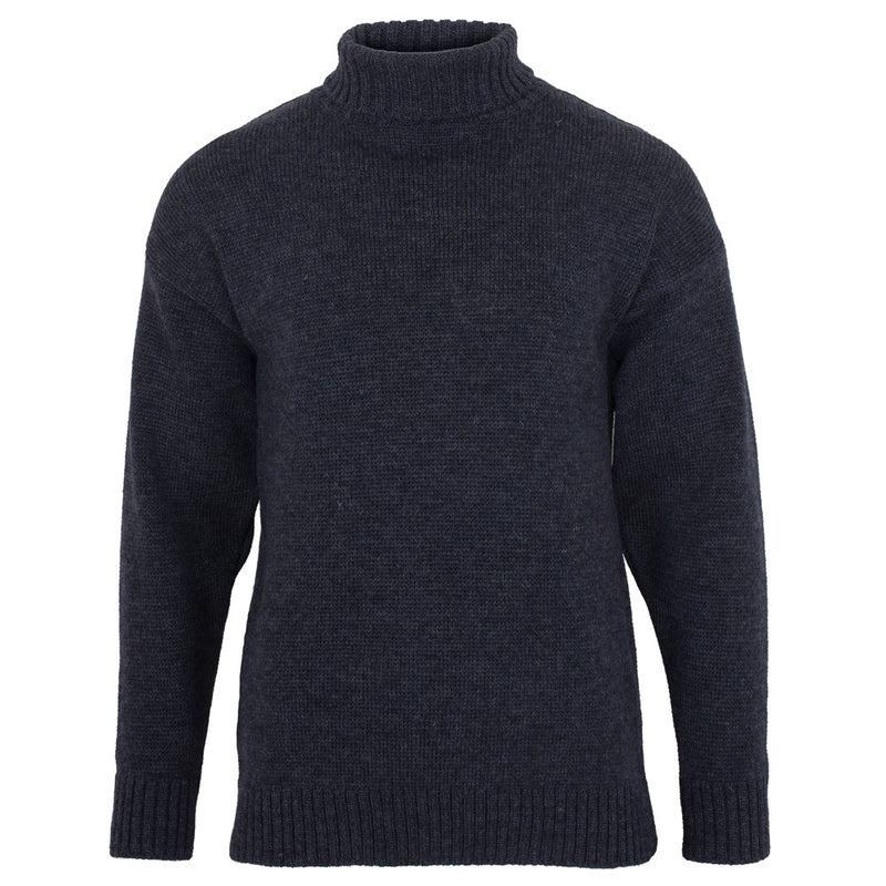 mens charcoal submariner merino wool roll neck jumper