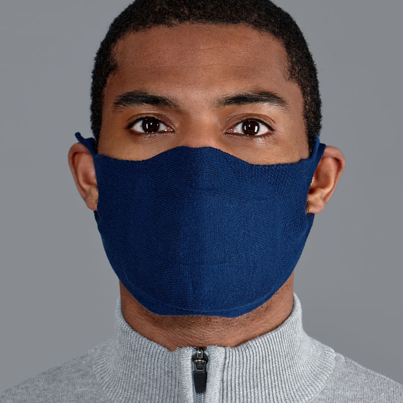 navy comfortable cotton mask made in england