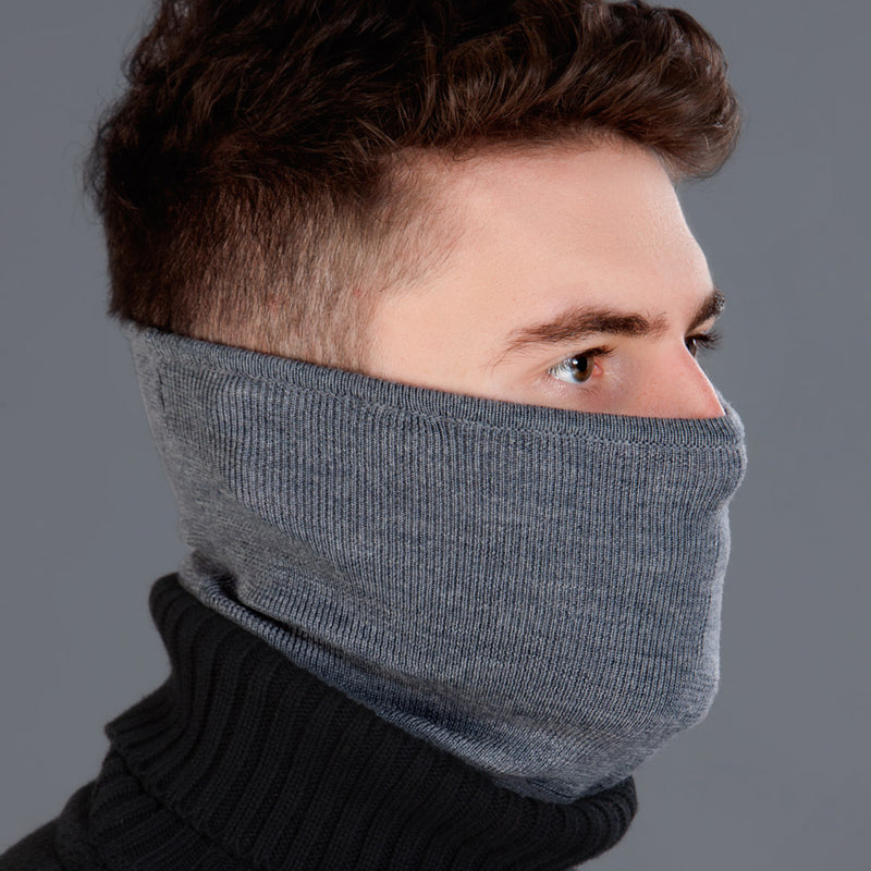 charcoal merino wool snood and neck warmer