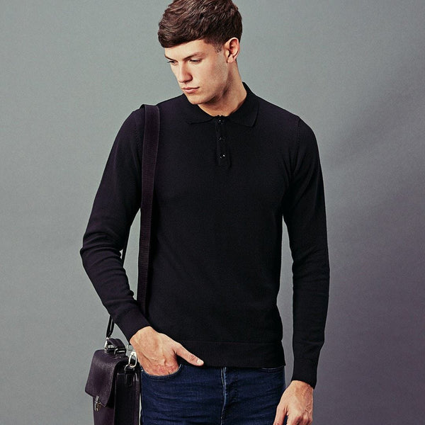 mens long sleeve knitted polo