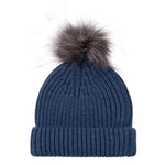 Women's Pure Merino Ribbed Beanie with Silver Grey Big Faux Fur Pompom