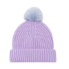 lilac merino wool beanie hat with blue faux pom