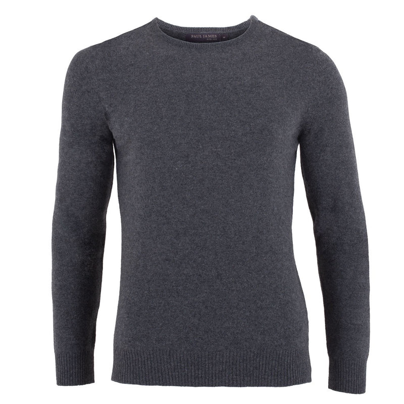 Charcoal grey mens luxury cashmere round neck sweater