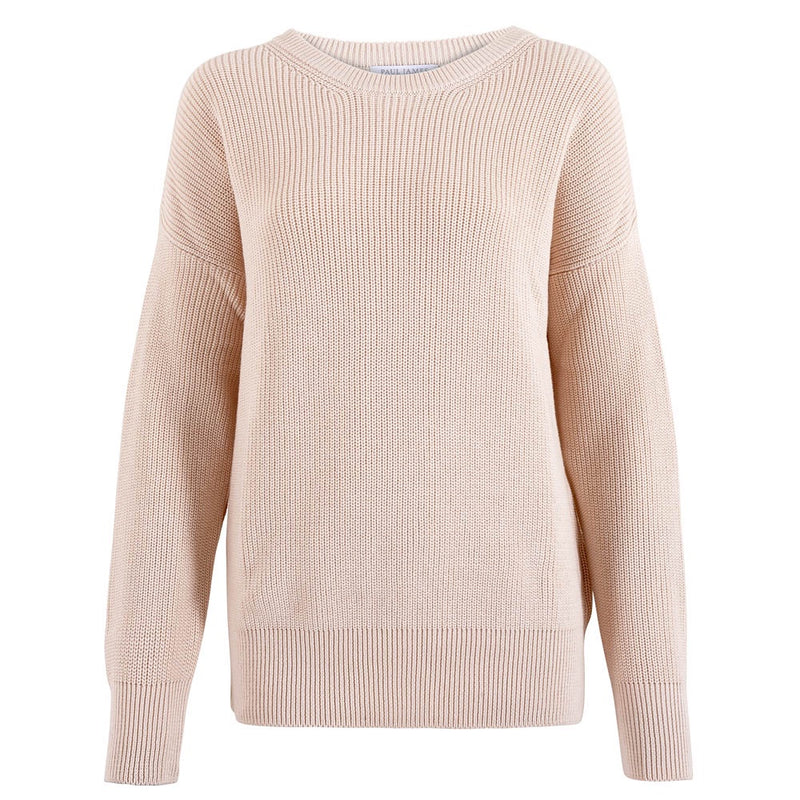round neck cotton ribbed crew neck jumper