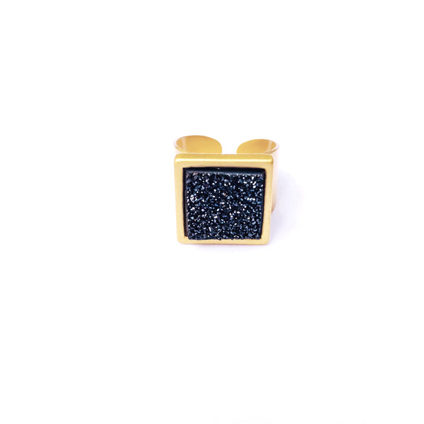 Larch Ring in Black Druzy