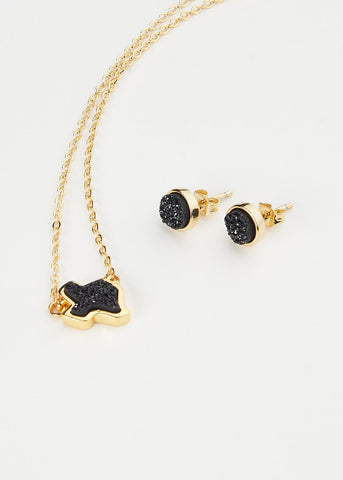 The Texas Black Druzy Set