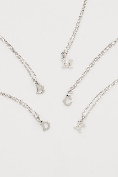Dainty love initial Silver