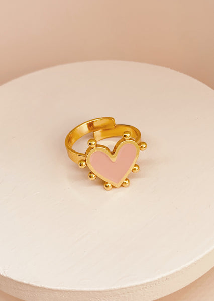 Amore Heart Ring Pink